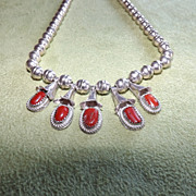 Vintage Sterling Silver and Red Coral Squash Blossom Necklace