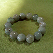 Vintage NATURAL Old Burma Ice Jadite Beaded Bracelet