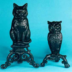 New cat and owl cast iron andirons