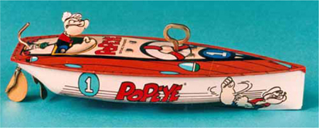 Popeye and Felix Character Tin Wind-up Toy Boats