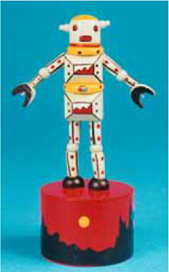 New robot push toy in painted wood