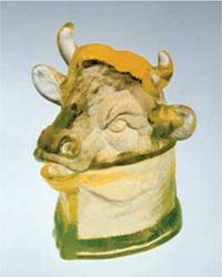 New Bulls Head Mustard Jar in Vaseline