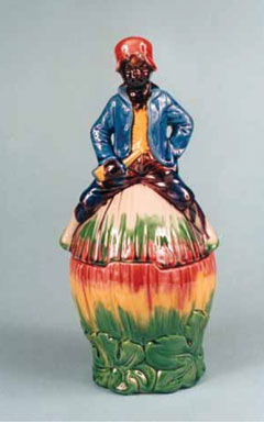 New Black American Memorabilia Humidors in Majolica Style