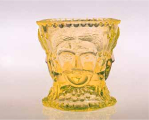 Victorian Patterns Copied in Vaseline Glass