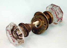 Old Doorknobs Etched with Collectible Names and Trademarks