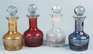 Cut glass perfumes with colored overlays
