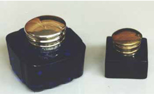 Cobalt glass inkwells