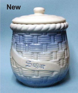 Blue and White Stoneware Kitchen Canisters