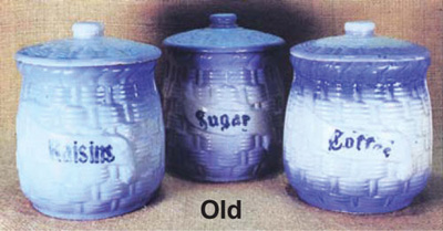 2 Original Pre 1930 Blue And White Salt Glazed 6¾ Inch Canisters Made In  America. Embossed Basket Weave Pattern All Over The Surface.