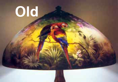 Handel parrot shade copied in four sizes 1 new reverse painted glass shade with parrots it copies an original design by the handel company shown in fig 2 new shades with this design are mozeypictures Choice Image