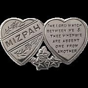 Antique silver double heart Mizpah brooch pin