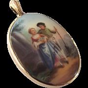 Antique  9ct gold porcelain miniature romantic painting pendant
