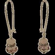 SOLD Pink Swarovski Crystal and Rose Quartz Earrings