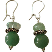 SOLD Green Aventurine and Silver Earrings - Red Tag Sale Item
