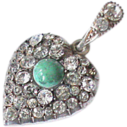 SOLD Antique Sterling Silver Paste & Turquoise Heart Pendant