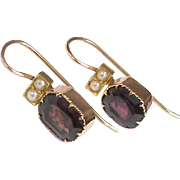 Antique Victorian 15k Gold Garnet & Seed Pearl Earrings