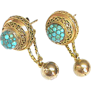 Antique Victorian 15k Gold Turquoise Earrings with ball drops