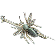 SOLD Antque Victorian Sterling Silver gilt Cats Eye Gemstone & Seed Pearl Insect BEE Brooch