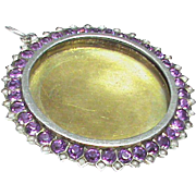 Large Antique Victorian c1900 Sterling Silver Paste Locket Pendant