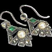 SOLD Vintage Art Deco Sterling Silver Paste, Marcasite & faux Pearl Earrings