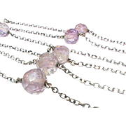 SALE Vintage Sterling Silver & Amethyst Chain Necklace