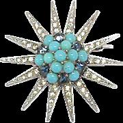 Vintage Big Sterling Silver Paste & faux Turquoise Starburst Brooch