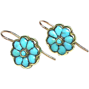 SALE Antique Victorian 18k Gold Turquoise Earrings
