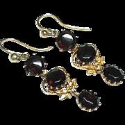 SALE Antique Victorian 9k Gold Garnet Earrings