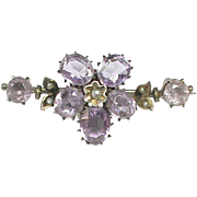 SOLD Antique Victorian Sterling Silver Amethyst PANSY Brooch