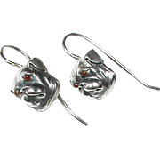 Antique Victorian Sterling Silver Bulldog Earrings with paste eyes