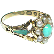 SALE English Antique early Victorian 1846 18k Gold Natural Seed Pearl, Turquoise & Enamel Ring
