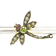SALE Antique Edwardian 9k Gold Seed Pearl Peridot & Ruby Dragonfly Brooch