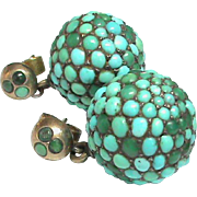 Antique Victorian 9k Gold Ball Earrings encrusted with Turquoise in Sterling Silver