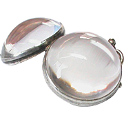 SALE Antique Victorian Sterling Silver Rock Crystal Pools of Light Photo Ball Locket Pendant