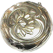 Antique Art Nouveau Silver 800 Flower Compact Poudrier Box