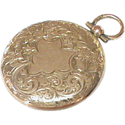 Antique Victorian 9k Gold Etched Locket Pendant