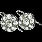 SALE Antique Georgian Sterling Silver black dot Crystal Earrings