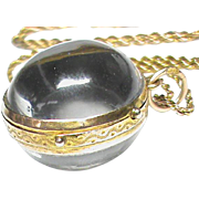 SALE Quality Antique Victorian 9k Gold Pools of Light Crystal Ball Locket Pendant & Chain