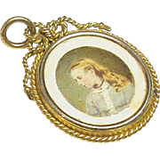 Antique Victorian 15k Gold Double Sided Locket Pendant with Miniature