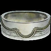 Antique Victorian Sterling Silver CUFF Bangle