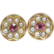 Antique Victorian 15k Gold Seed Pearl & Ruby Earrings