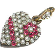 Antique Victorian Faux Seed Pearl & Pink Paste Puffy Heart Pendant