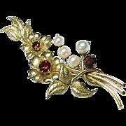 Vintage 9k Gold Garnet & Cultured Pearl Floral Bouquet Brooch