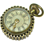 Antique Victorian Novelty Miniature Pocket Watch Compass Fob