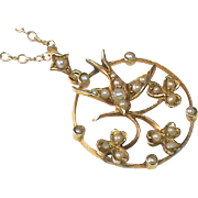 Antique Edwardian 9k Gold Seed Pearl Swallow Pendant Necklace