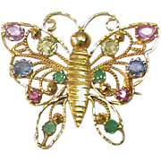 Vintage 14k Gold Sapphire Emerald Ruby Gemstone Butterfly Brooch / Pendant