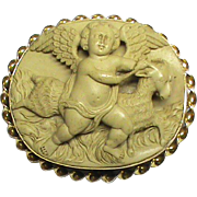 SALE Fabulous Antique Victorian 9k Gold carved LAVA Cameo Brooch of Eros