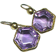 Antique Victorian 15k Gold Amethyst Earrings