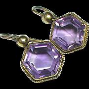 SALE Antique Victorian 15k Gold Amethyst Earrings