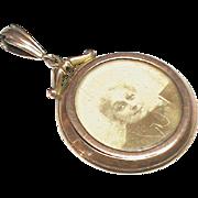Antique Edwardian 9k Rose Gold Double Sided Photo Locket Pendant